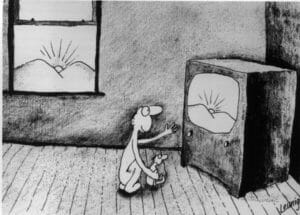 Michael Leunig cartoon -  tv vs sunset