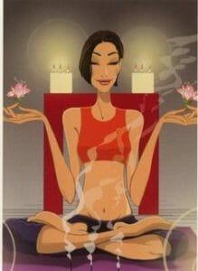 Woman meditating in lotus