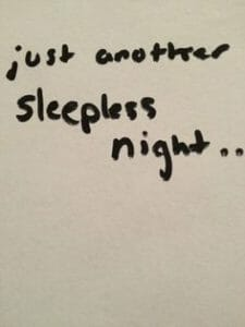 The image text reads Just Another Sleepless Night and relates to the article on insomnia busters.