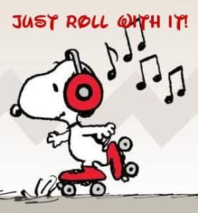 Snoopy cartoon. He's on roller skates with headphone listening to music.