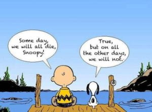 Cartoon of Charley Brown and Snoopy sitting on a jetty discussing death.